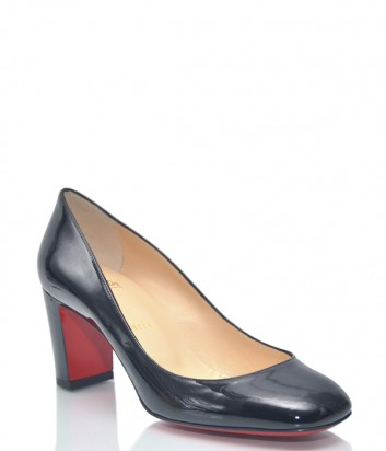 Черные лаковые туфли Christian Louboutin CL70 на среднем каблуке