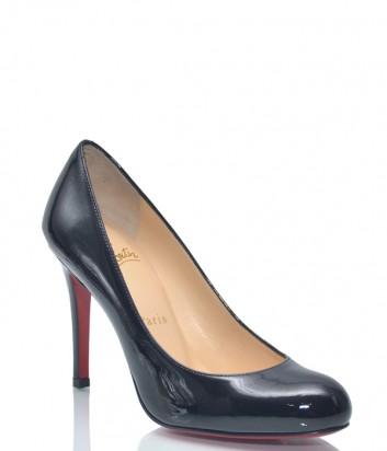 Черные лаковые туфли Christian Louboutin CL100 с круглым носком