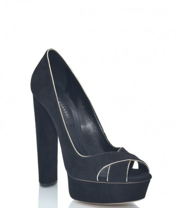 Черные замшевые туфли Casadei 9634 на высоком каблуке