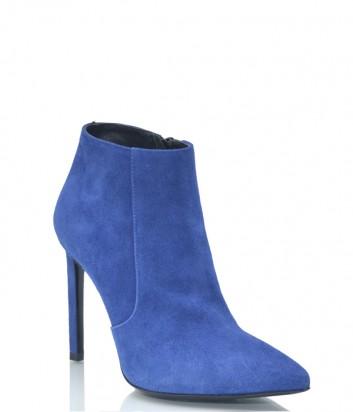 Синие замшевые ботильоны Pollini 9106 с зауженным носком