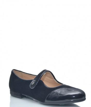 Черные замшевые балетки Emporio Armani 9141 с лаковым носком