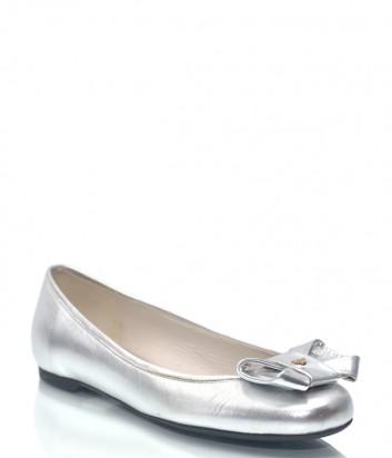 Серебристые кожаные балетки Emporio Armani 8707 с бантиком