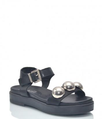 Черные кожаные сандалии Nila Nila 9533 с декором