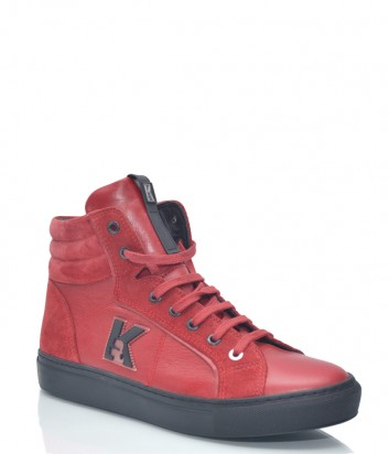 Красные кожаные кеды Karl Lagerfeld 8903 с замшевыми вставками