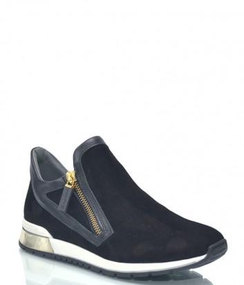 Черные замшевые кроссовки Baldinini 7828 с боковыми молниями