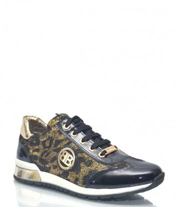 Кожаные кроссовки Baldinini 7513 с леопардовым принтом