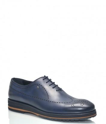 Синие туфли Roberto Serpentini 28707 в гладкой коже с перфорацией