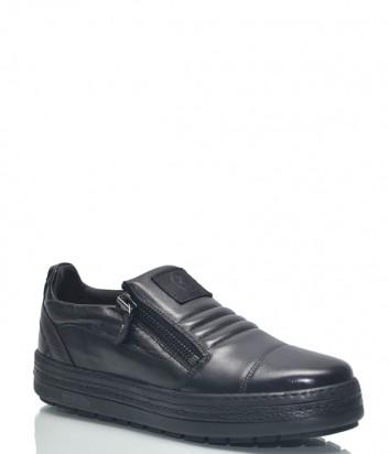 Черные кожаные туфли Roberto Serpentini 1419 на танкетке