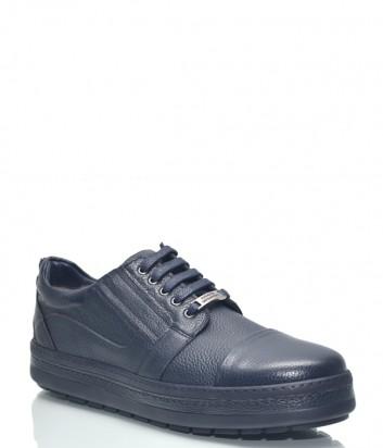 Синие кожаные туфли Roberto Serpentini 1417 на танкетке