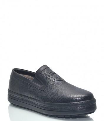 Черные кожаные туфли Roberto Serpentini 1416 с мехом внутри