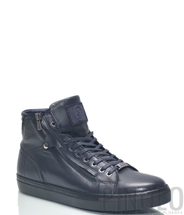 b491230c Высокие кожаные кеды Roberto Serpentini 1420 темно-синие - купить в ...