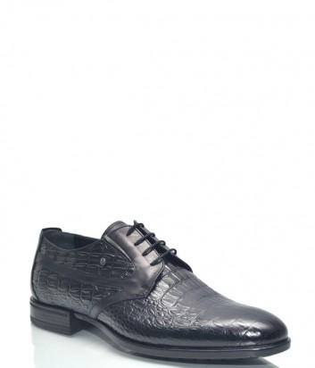 Мужские кожаные туфли Roberto Serpentini 54107 с тиснением под крокодила черные