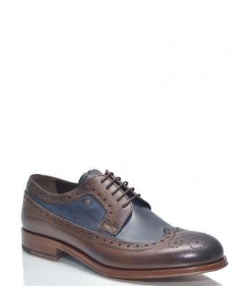 Классические мужские туфли Roberto Serpentini 30110 коричневые с синими вставками
