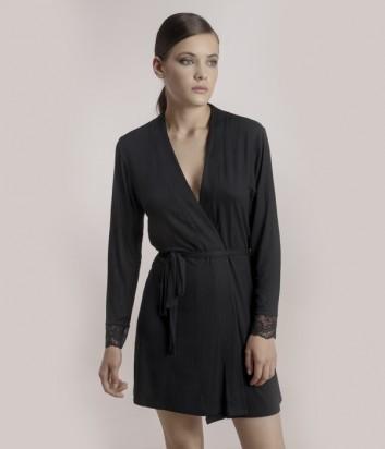 Черный халат Gisela 0190 с кружевной отделкой на рукавах
