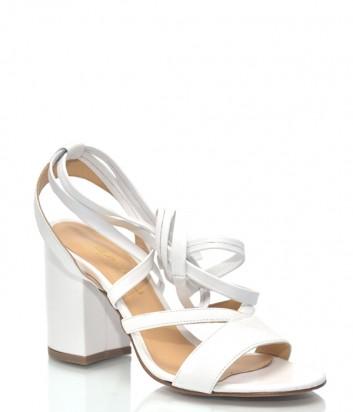 Белые кожаные босоножки Lea-Gu 9842 с завязками