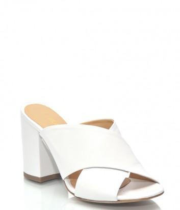 Белые кожаные босоножки Lea-Gu 9843 на широком каблуке