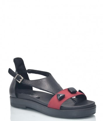 Кожаные сандалии Charme 9581 черно-красные