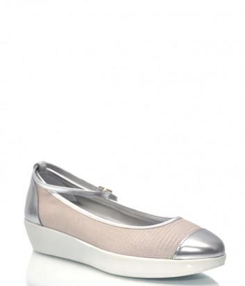Бежевые кожаные туфли HOGAN 6931 с серебристым носком