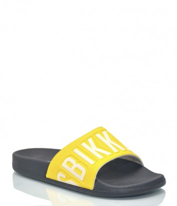 Желтые шлепки Dirk Bikkembergs 9565 с надписями