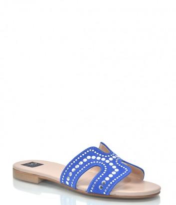 Синие замшевые шлепки ISLO Isabella Lorusso 9847 с заклепками