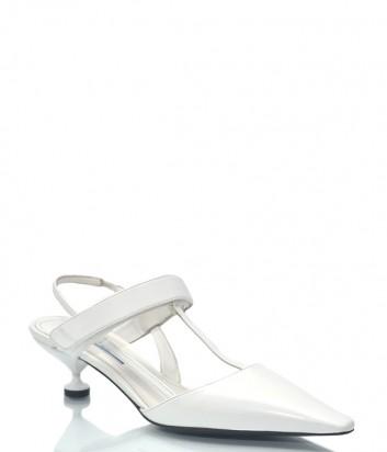 Белые кожаные босоножки Prada 9622 на маленьком каблуке