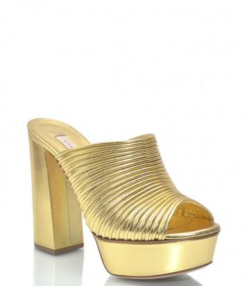 Золотые кожаные мюли Casadei 9904 на высоком каблуке и танкетке