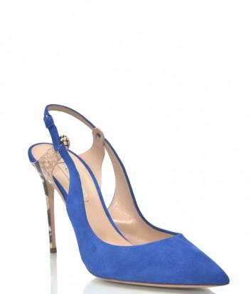 Синие замшевые лодочки Casadei 1151 на высоком каблуке