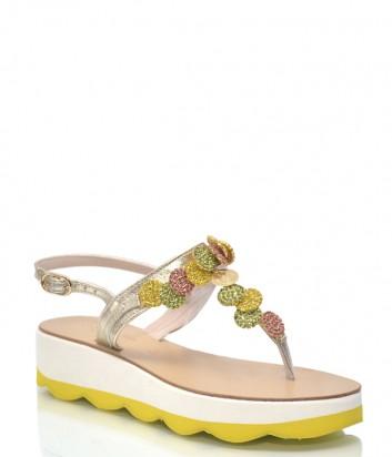 Золотые кожаные сандалии Roberto Serpentini 9914 с цветным декором