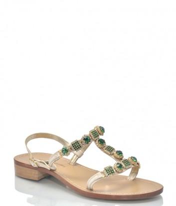 Бежевые кожаные сандалии Roberto Serpentini 9522 с зелеными кристаллами