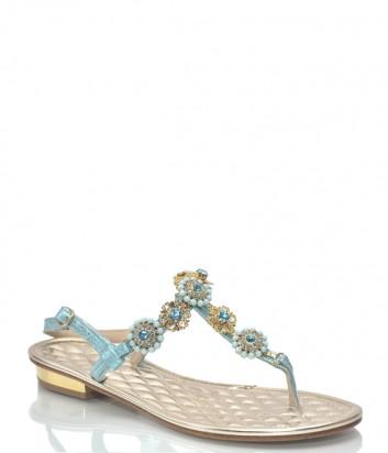 Голубые кожаные сандалии Roberto Serpentini 9529 с декором