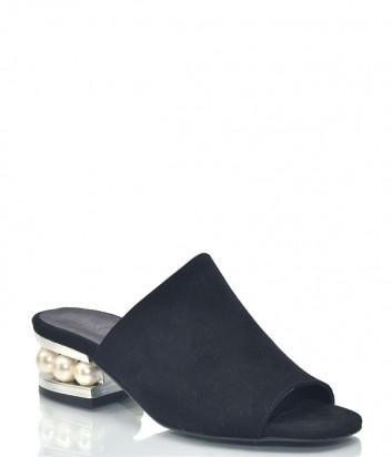 Черные замшевые мюли Nila Nila 1153 с жемчужинами на каблуке