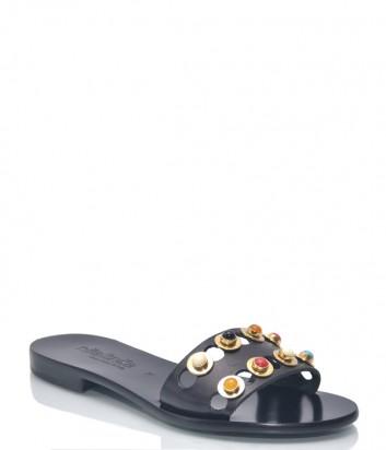 Черные кожаные шлепанцы Nila Nila 9552 декорированные цветными камушками