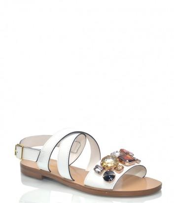 Белые кожаные сандалии Spaziomoda 9561 с цветными камнями