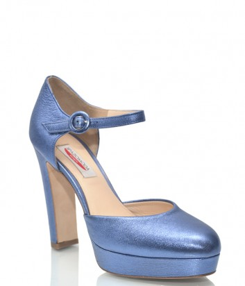 Синие кожаные босоножки Spaziomoda 8179 на высоком каблуке
