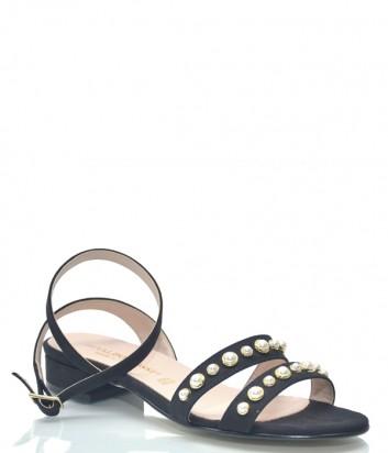 Черные замшевые сандалии Osvaldo Rossi 9535 с жемчужинами