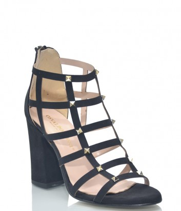 Черные замшевые босоножки Osvaldo Rossi 9536 на широком каблуке