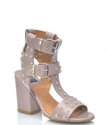 Бежевые кожаные босоножки ISLO Isabella Lorusso 9832 на широком каблуке