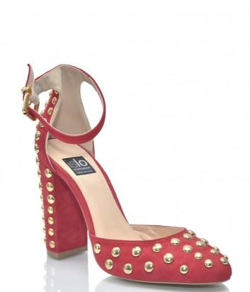 Красные замшевые босоножки ISLO Isabella Lorusso 9509 с золотыми заклепками