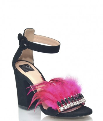 Черные замшевые босоножки ISLO Isabella Lorusso 9848 декорированные розовыми перьями