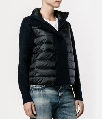 Черная куртка-пуховик Moncler Maglione с трикотажными вставками
