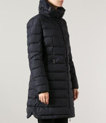 Черное водонепроницаемое пальто-пуховик Moncler Flammete со съемным капюшоном