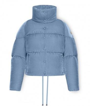 Укороченная бархатная куртка-пуховик Moncler Cercis голубая