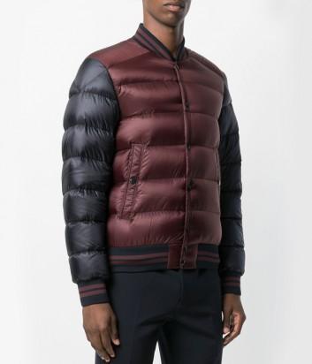 Сине-бордовая пуховая куртка-бомбер Moncler Bradford на пуговицах