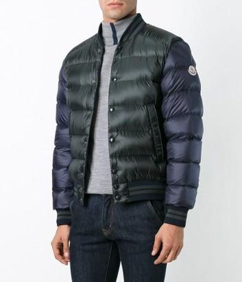 Сине-зеленая пуховая куртка-бомбер Moncler Bradford на пуговицах