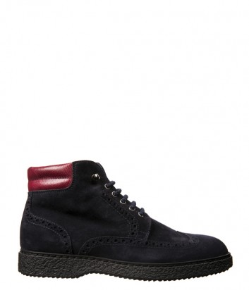 Синие замшевые ботинки Luca Guerrini 9759 с красной кожаной вставкой