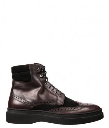 Коричневые кожаные ботинки Luca Guerrini 9754 с замшевыми вставками