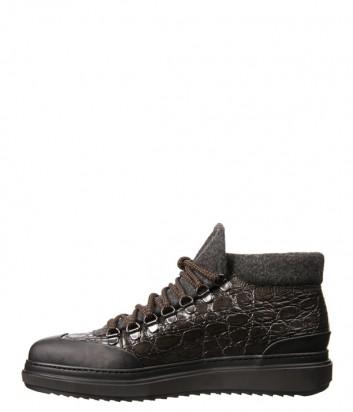 Коричневые кожаные ботинки Luca Guerrini 9291 с войлочными вставками