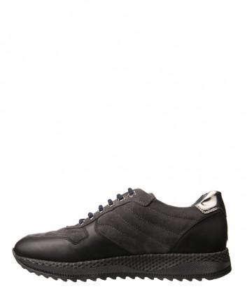 Серые замшевые кроссовки Luca Guerrini 9808 с кожаными вставками