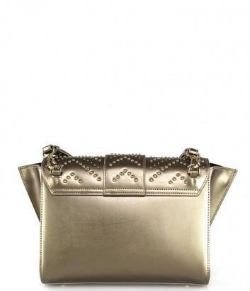 Кожаная сумка через плечо Cavalli Class Alisa 22060 с заклепками золотая