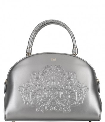 Серебряная кожаная сумка Cavalli Class Lione 22001 с тисненным узором
